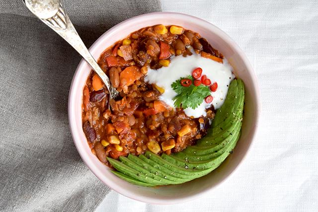 Chili Sin Carne med bønner og linser