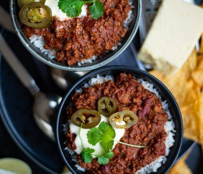 Chili Con Carne med chokolade og varme krydderier